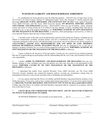 Hold Harmless Agreement Texas PDF
