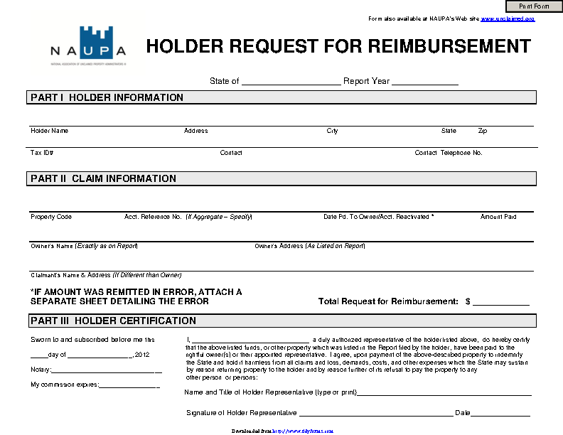 Holder Request For Reimbursement