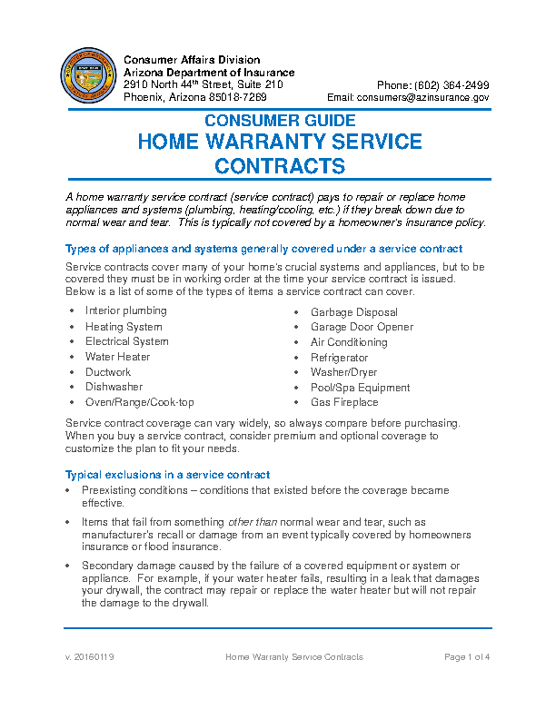 Home Warranty Service Contracts