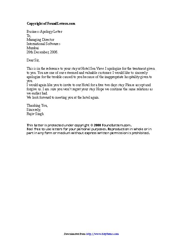 Hotel Apology Letter 1   PDFSimpli