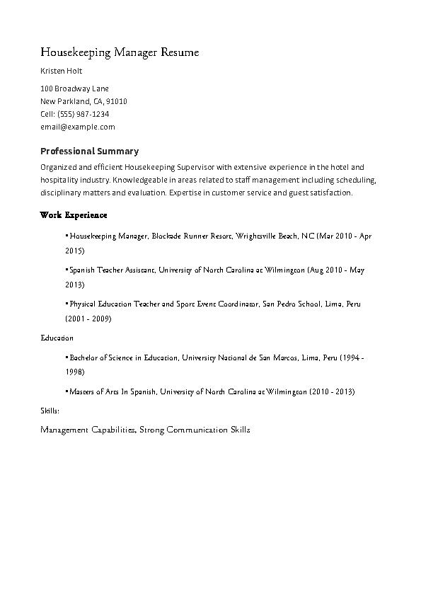 Housekeeping Supervisor Resume