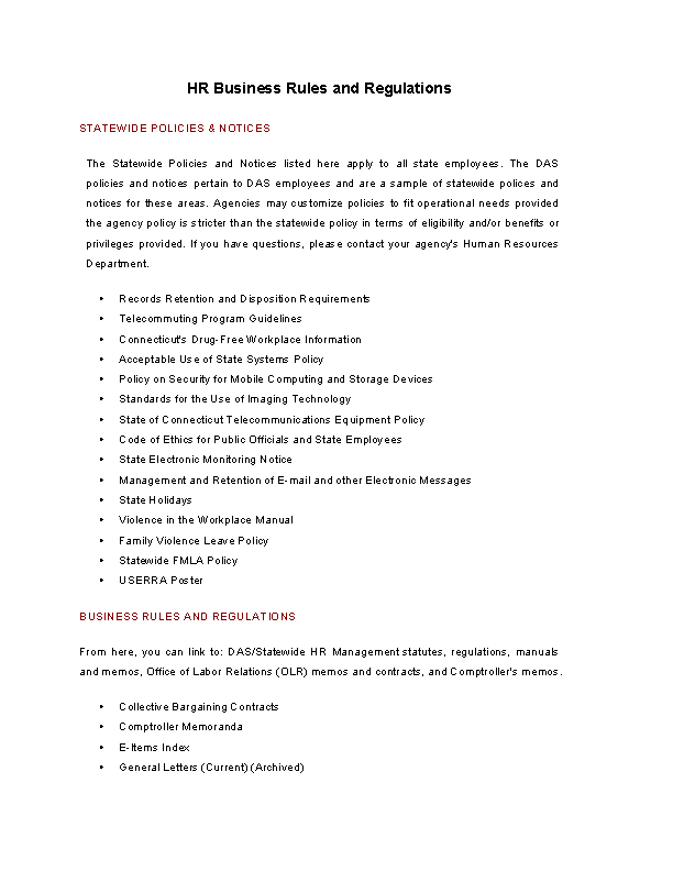 Hr Business Rules And Regulations Template
