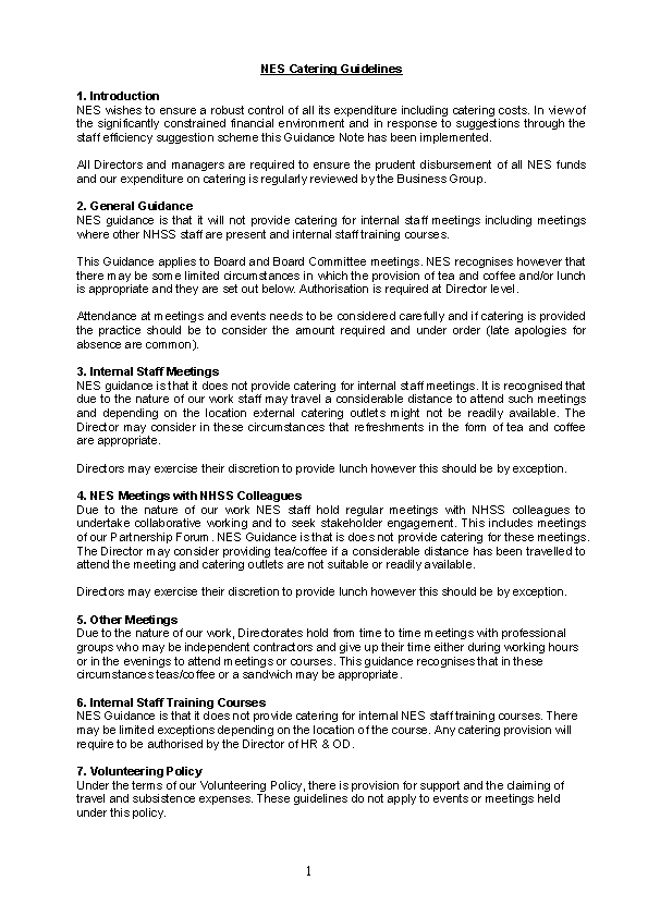 Hr Nes Catering Guidelines