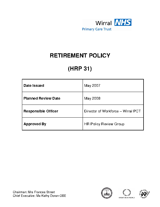 Hr Retirement Policy Template