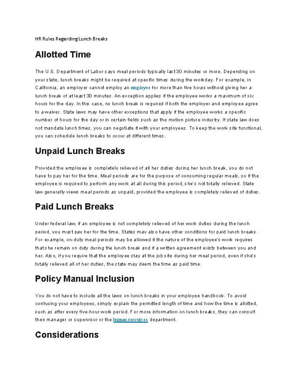 Hr Rules Regarding Lunch Breaks