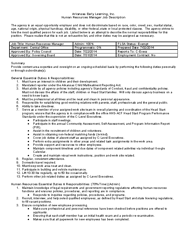 Human Resources Job Description Template Pdfsimpli