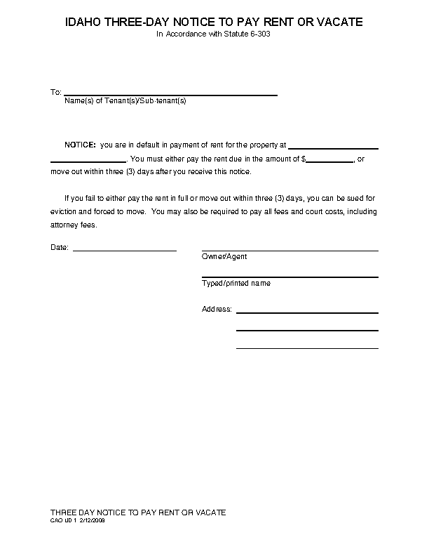 Idaho 3 Day Notice To Quit Form Nonpayment Cao Ud 1