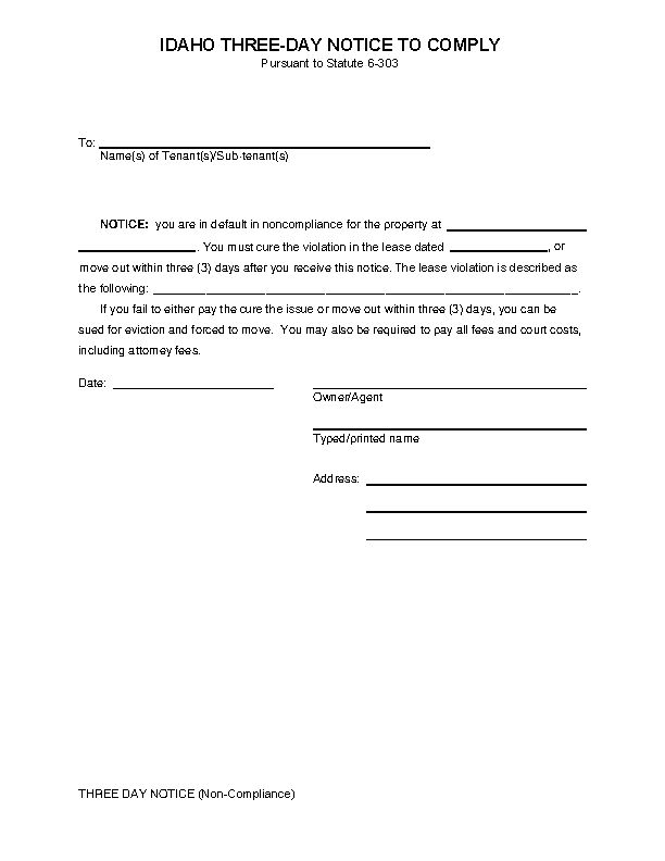 Idaho 3 Day Notice To Quit Noncompliance Form