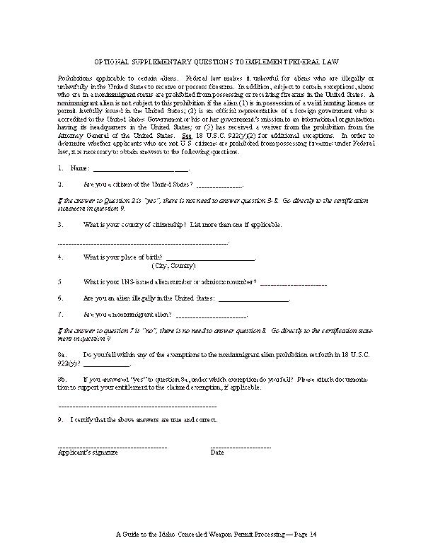 Idaho Alien Registration Form