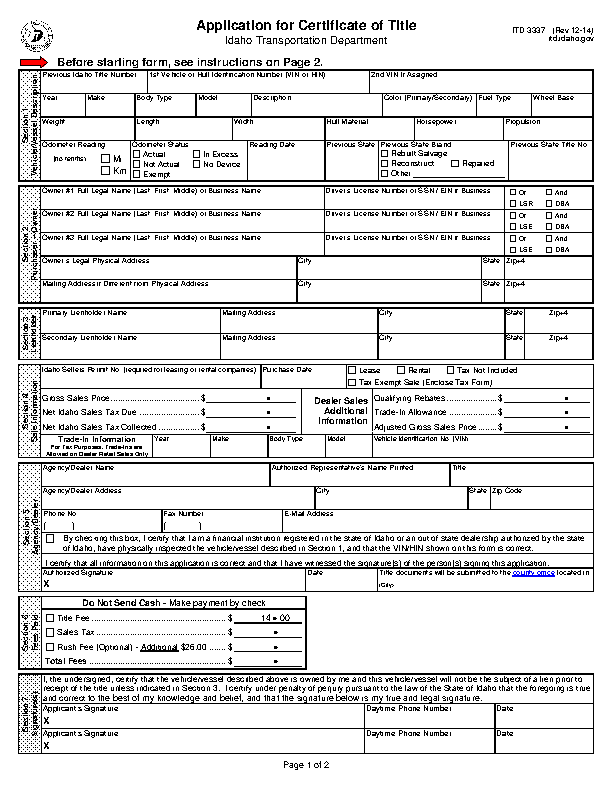 Idaho Application For Certificate Of Title