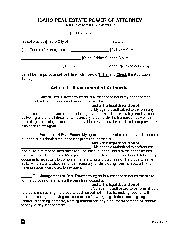 Idaho Real Estate Power Of Attorney Form