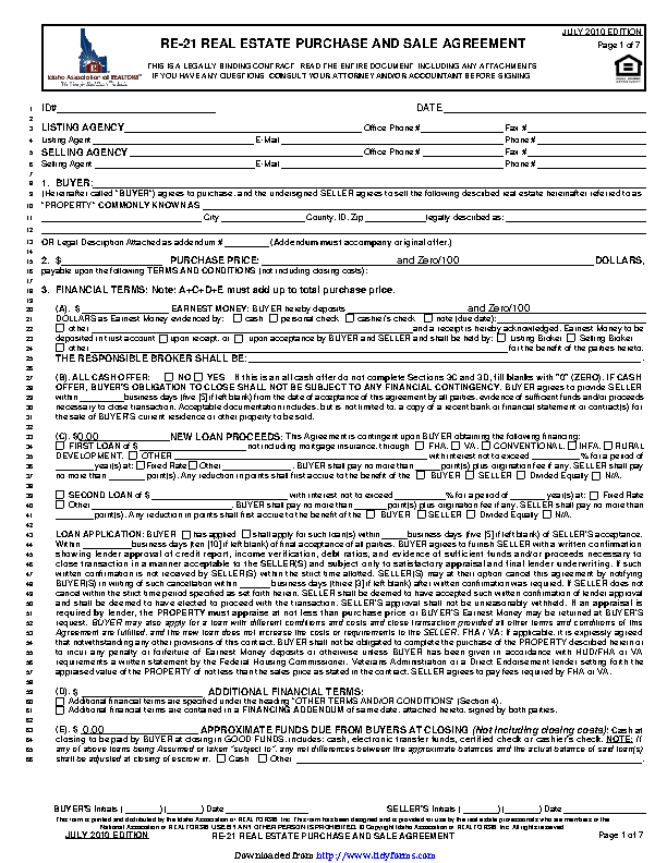 Idaho Real Estate Purchase And Sale Agreement Form