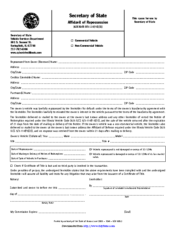 Illinois Affidavit Of Repossession