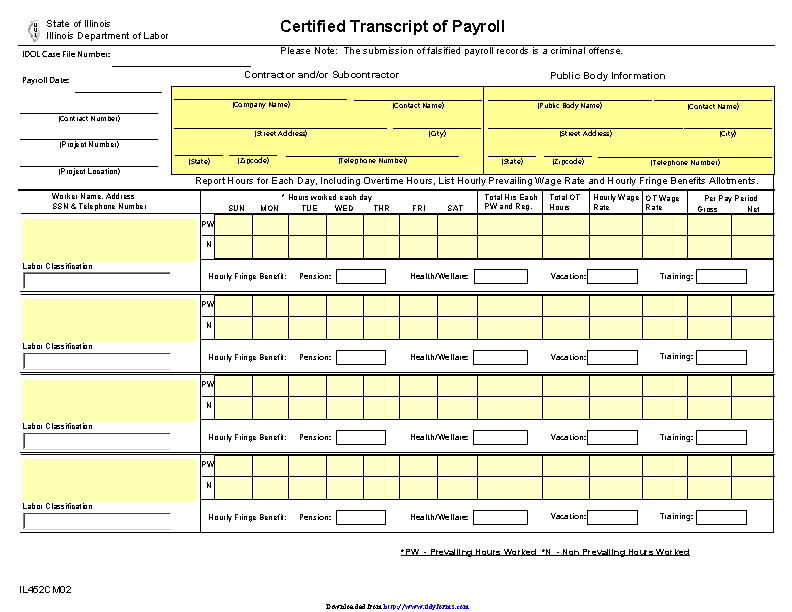 Illinois Certified Transcript Of Payroll
