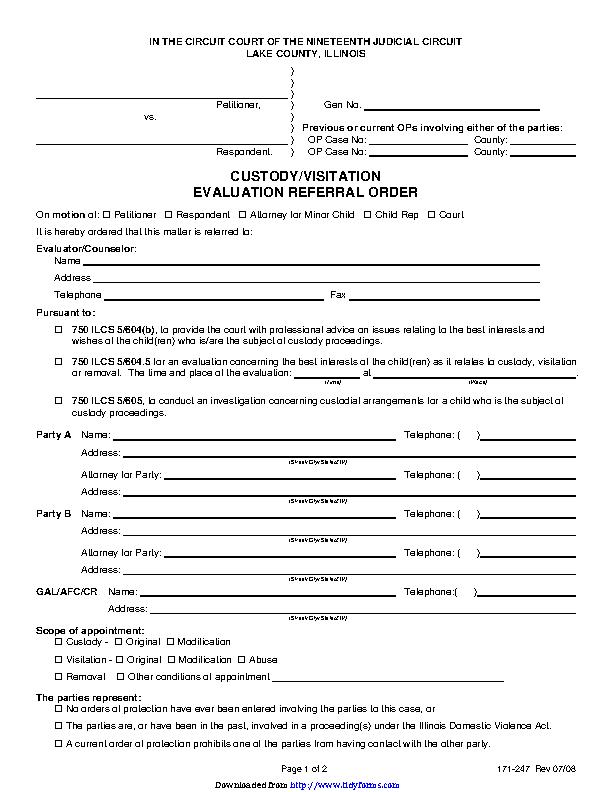 Illinois Child Custody Form