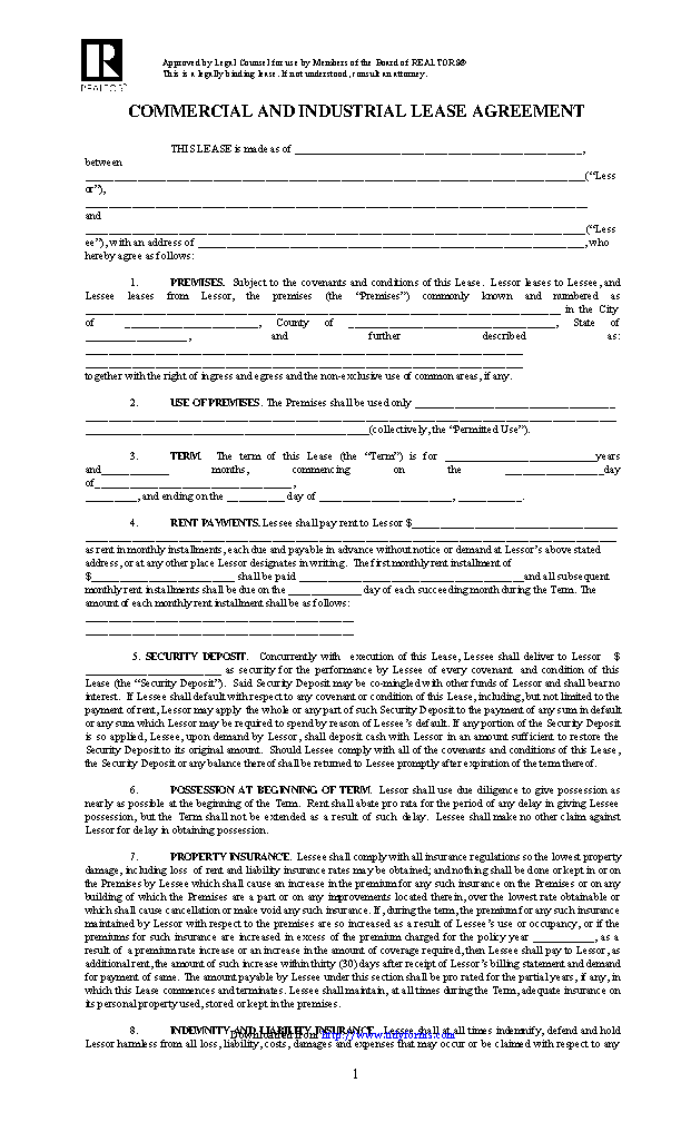 Illinois Commercial Industrial Lease Agreement Template