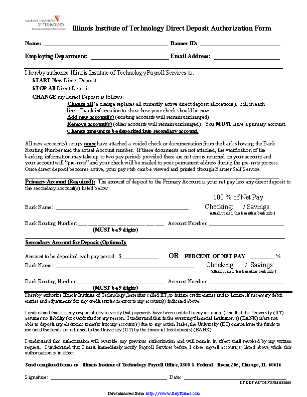 Illinois Direct Deposit Form 2
