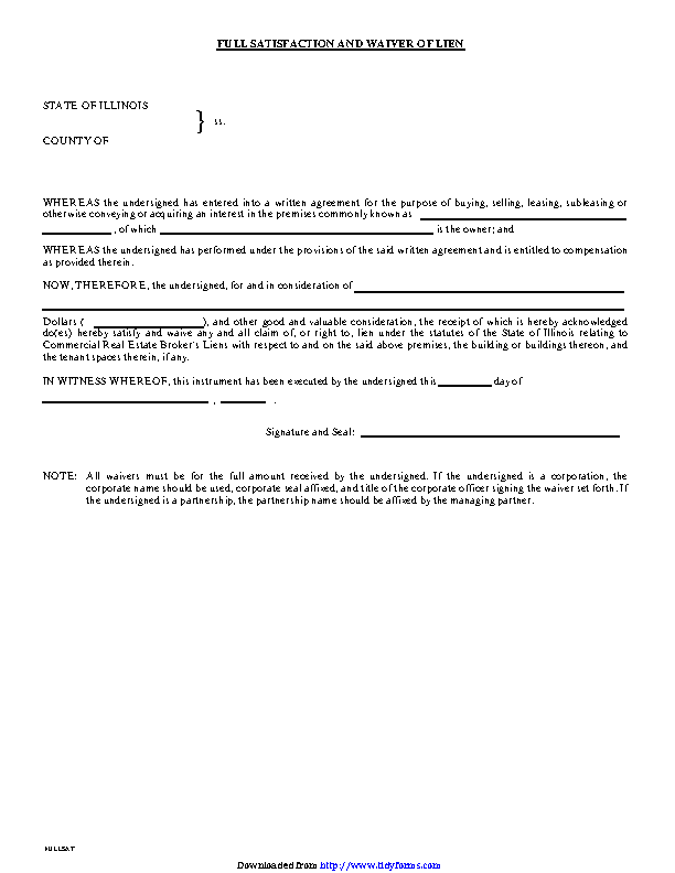Illinois Full Satisfaction And Waiver Of Lien