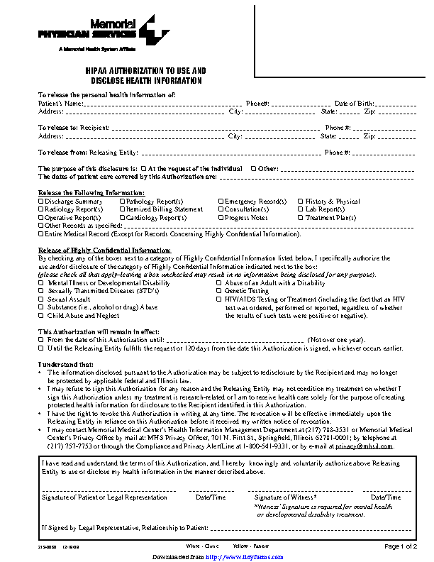 Illinois Hipaa Authorization To Use And Disclose Health Information
