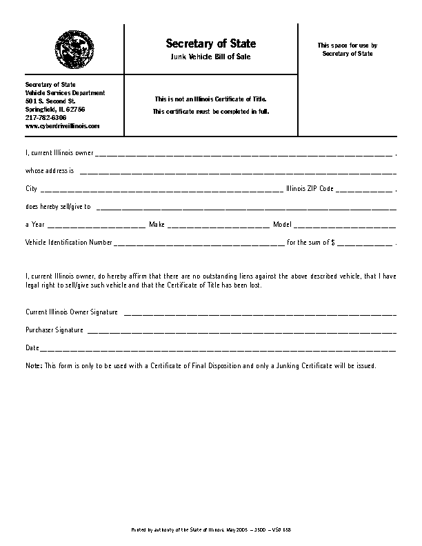 Illinois Junk Vehicle Bill Of Sale Form Vsd658