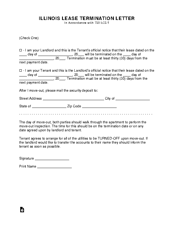Illinois Lease Termination Letter Form