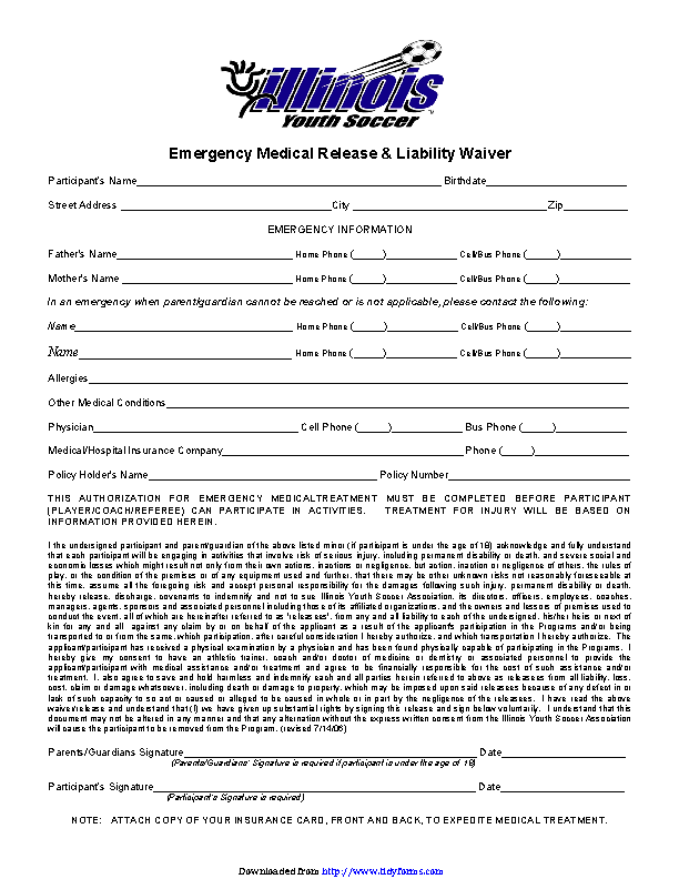 Illinois Medical Release Form For Player