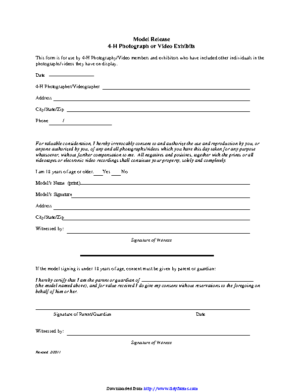 Illinois Model Release Form