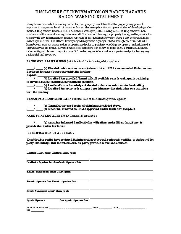 Illinois Radon Disclosure Form