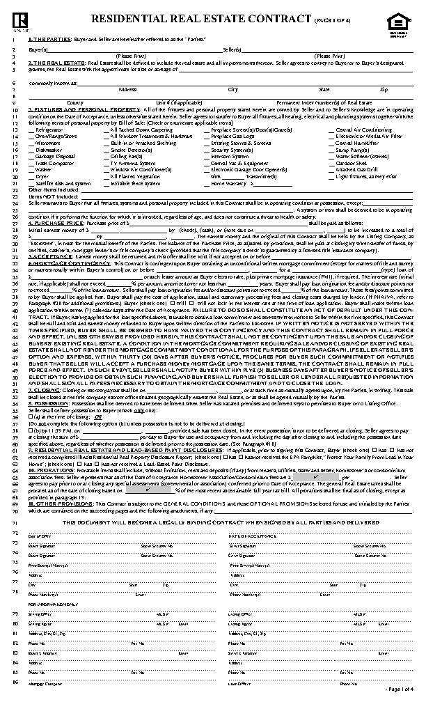 Illinois Residential Real Estate Contract