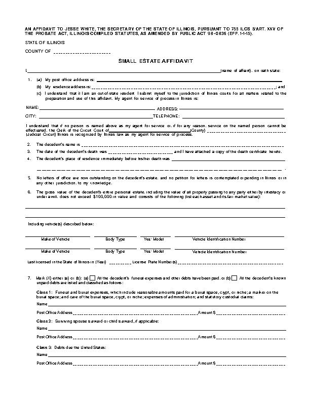 Illinois Small Estate Affidavit Form