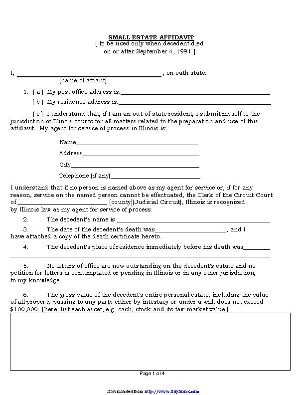 Illinois Small Estate Affidavit