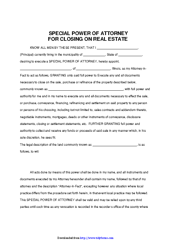 Illinois Special Power Of Attorney For Closing On Real Estate Form
