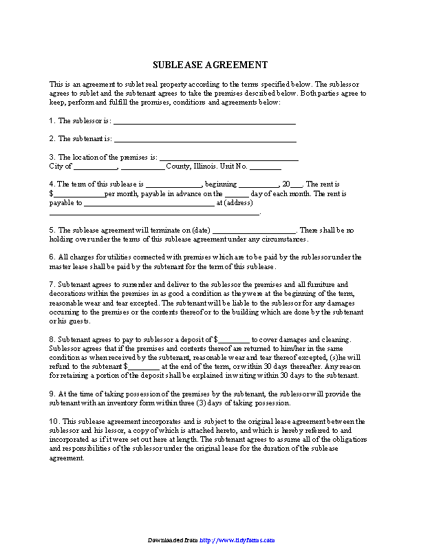 Illinois Sublease Agreement Form
