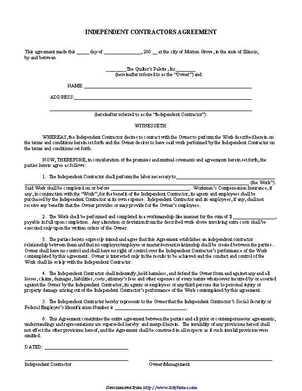 Independent Contractor Agreement 4 Pdfsimpli