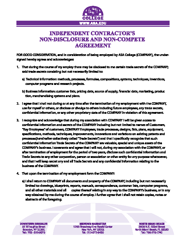 Independent Contractor Non Compete Agreement Form