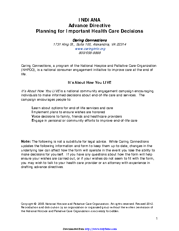 Indiana Advance Health Care Directive Form 1