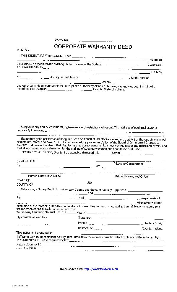 Indiana Corporate Warranty Deed
