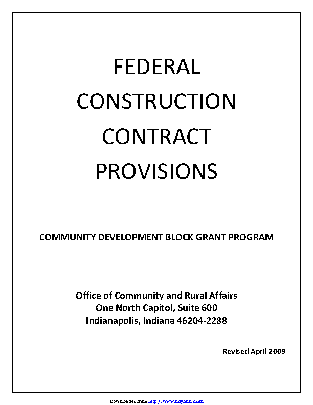 Indiana Federal Construction Contract Provisions