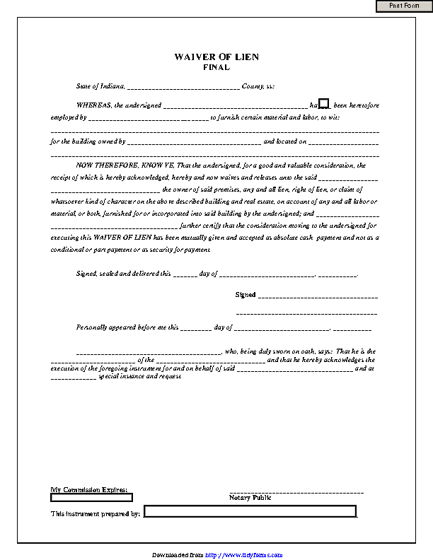 Indiana Final Waiver Of Lien