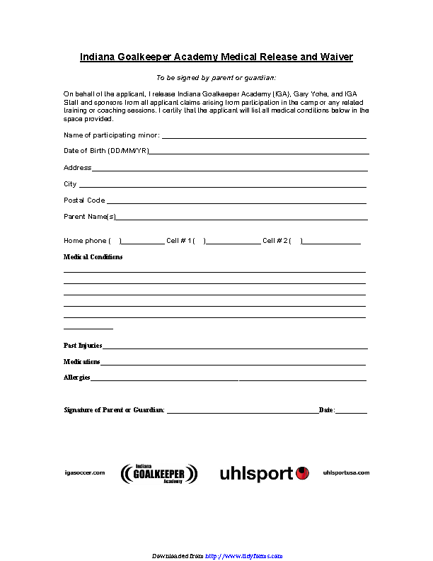 Indiana Goalkeeper Academy Medical Release Form