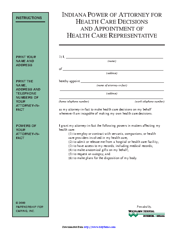 Indiana Health Care Power Of Attorney Form