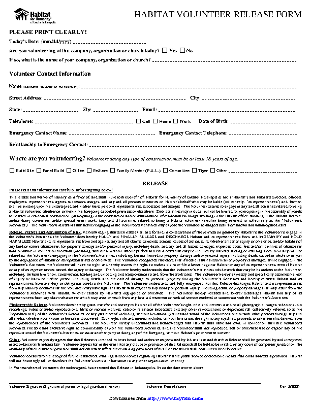 Indiana Liability Release Form 1