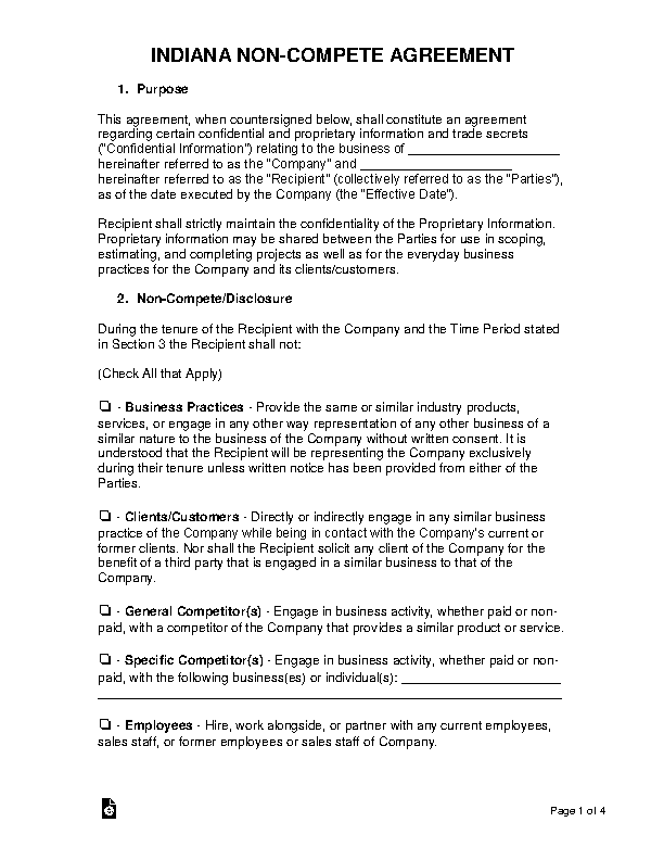 Indiana Non Compete Agreement Template