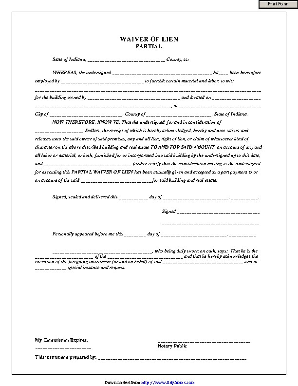 Indiana Partial Waiver Of Lien