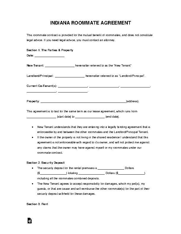 Indiana Roommate Agreement Form