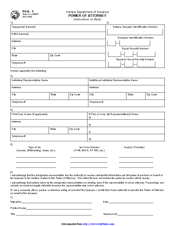 Indiana Tax Power Of Attorney Form 1