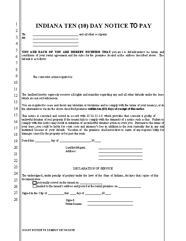 Indiana Ten Days To Comply Or Vacate Non Payment Of Rent