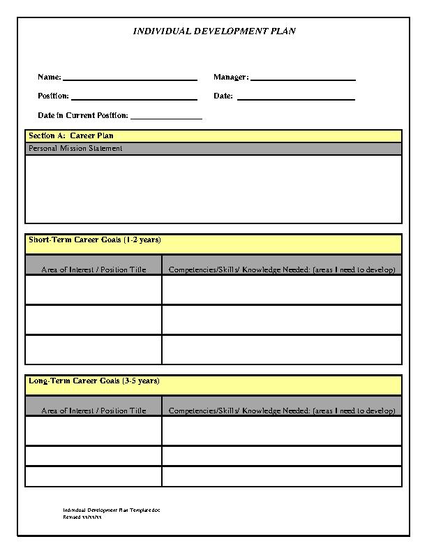 Individual Development Plan Free Pdf Template Download