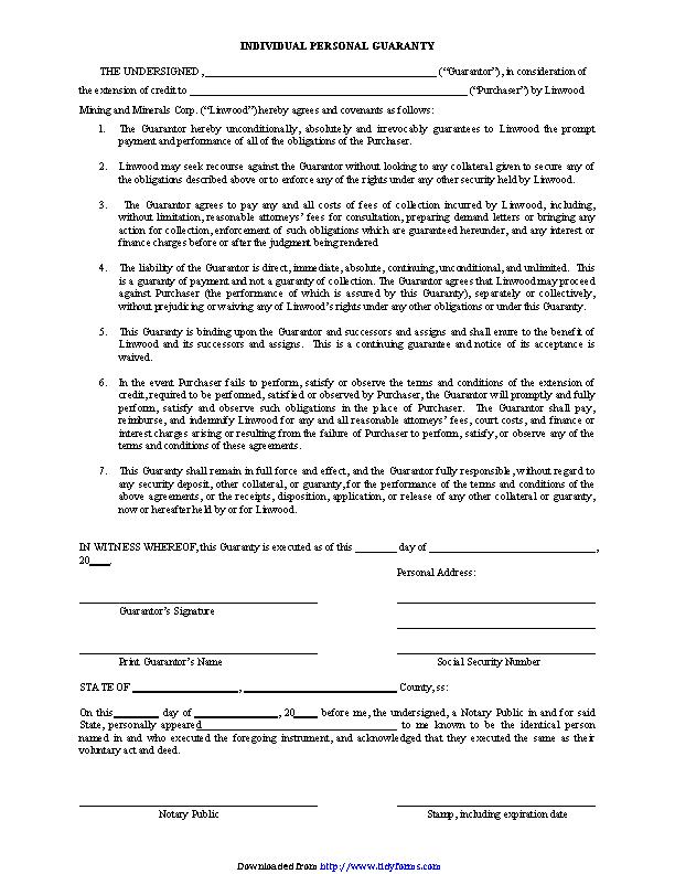 Individual Personal Guaranty 1