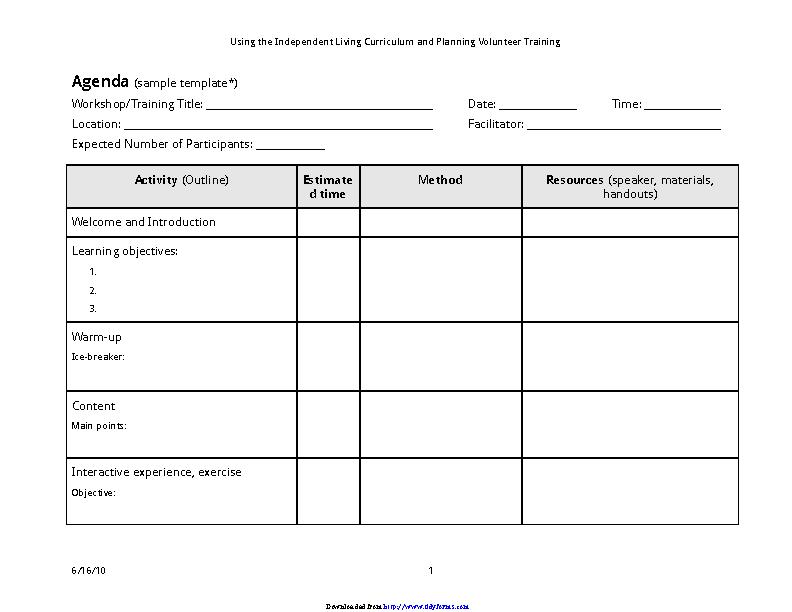 Individual Training Agenda